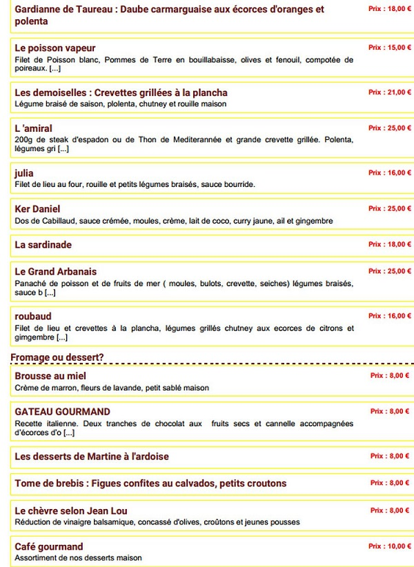 menu restaurant le poisson rouge giens
